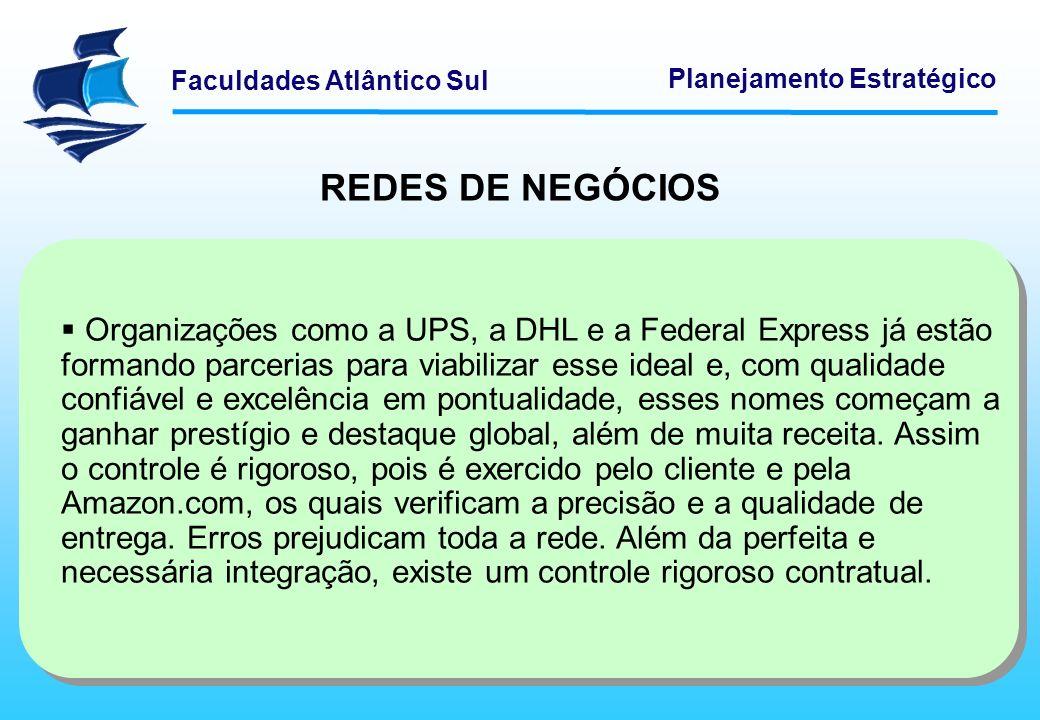 Faculdades Atlântico Sul Planejamento Estratégico REDES DE NEGÓCIOS Organizações como a UPS, a DHL e a Federal Express já estão formando parcerias par