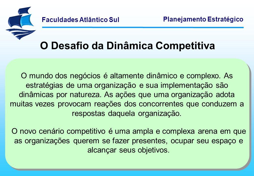 Faculdades Atlântico Sul Planejamento Estratégico O Desafio da Dinâmica Competitiva Como o espaço é finito, cada organização que entra reduz forçosamente o espaço de outras.