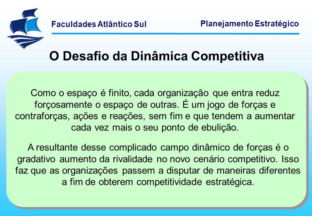 Faculdades Atlântico Sul Planejamento Estratégico O Desafio da Dinâmica Competitiva Como o espaço é finito, cada organização que entra reduz forçosame