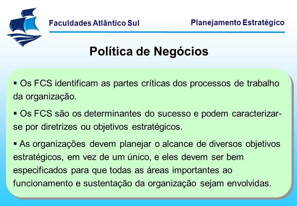 Faculdades Atlântico Sul Planejamento Estratégico Política de Negócios Existem oito áreas-chave de FCS: 1 – Posicionamento Competitivo: representa a posição de uma organização e onde ela se encontra em relação aos concorrentes.