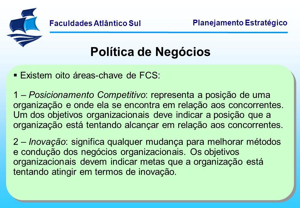 Faculdades Atlântico Sul Planejamento Estratégico Política de Negócios 3 – Produtividade: representa a quantidade de bens ou serviços produzidos pela organização em relação aos recursos utilizados no processo produtivo.