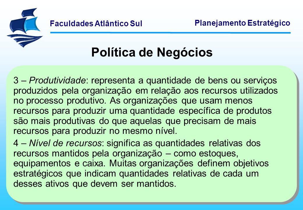 Faculdades Atlântico Sul Planejamento Estratégico Política de Negócios 5 – Lucratividade: é a capacidade de a organização obter receitas a mais do que as despesas necessárias para gerá-las.