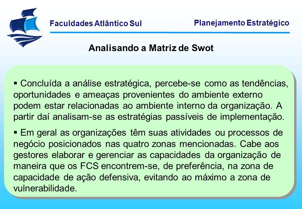 Faculdades Atlântico Sul Planejamento Estratégico FORÇASFRAQUEZAS Competências básicas em áreas chaves.