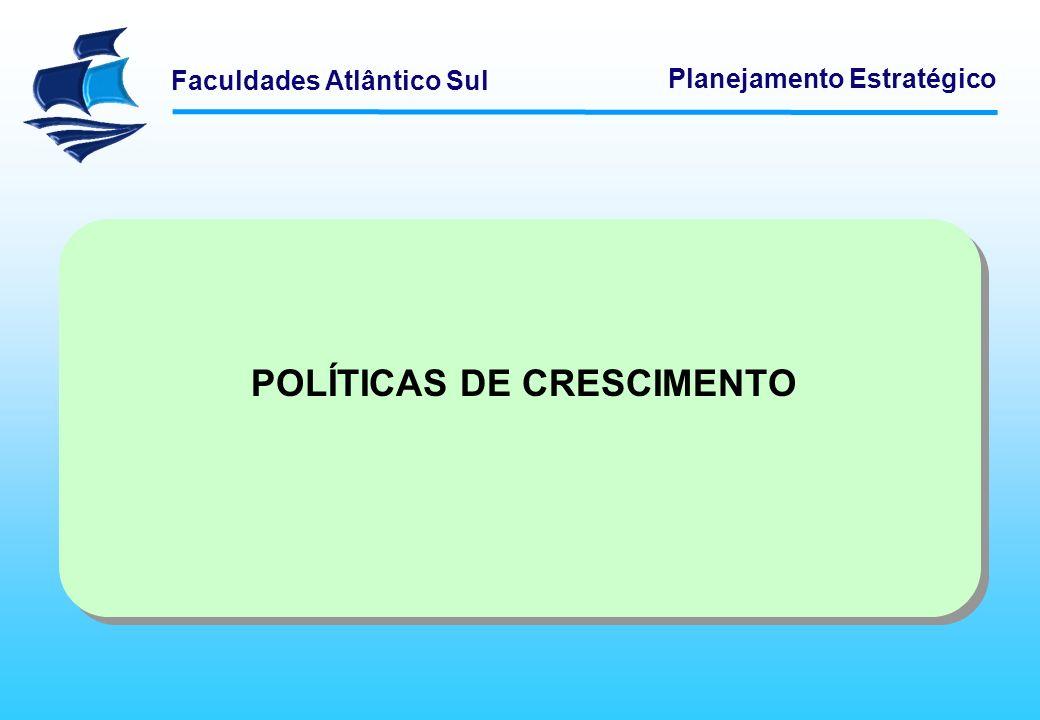 Faculdades Atlântico Sul Planejamento Estratégico POLÍTICAS DE CRESCIMENTO As organizações crescem e se afirmam quando têm sucesso no alcance de seus objetivos estratégicos.