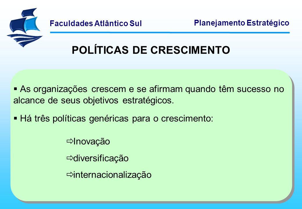 Faculdades Atlântico Sul Planejamento Estratégico POLÍTICAS DE CRESCIMENTO Inovação A Inovação efetiva vem da busca das necessidades do mercado e com intuito de atendê-las com ofertas adequadas de produtos e serviços.