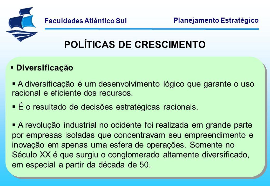 Faculdades Atlântico Sul Planejamento Estratégico POLÍTICAS DE CRESCIMENTO Internacionalização A internacionalização reflete a mesma lógica que a diversificação.