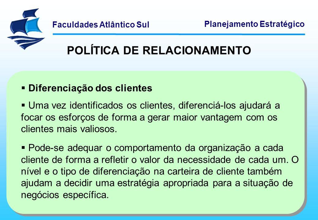 Faculdades Atlântico Sul Planejamento Estratégico POLÍTICA DE RELACIONAMENTO Interação com os clientes A eficiência em custos melhora ao direcionar a interação com cliente para canais mais automatizados e, portanto, menos custosos.