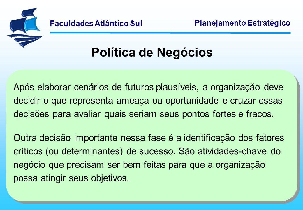 Faculdades Atlântico Sul Planejamento Estratégico Política de Negócios Os FCS identificam as partes críticas dos processos de trabalho da organização.