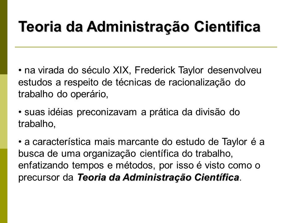 Teoria da Administração Cientifica na virada do século XIX, Frederick Taylor desenvolveu estudos a respeito de técnicas de racionalização do trabalho