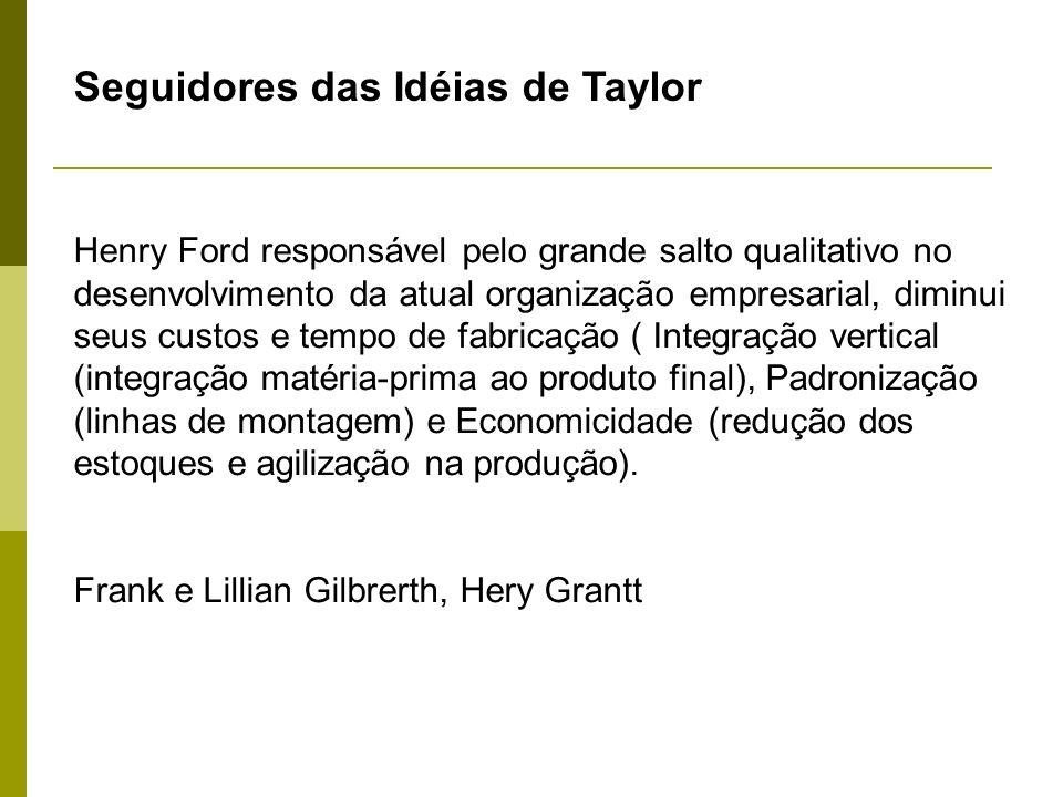 Seguidores das Idéias de Taylor Henry Ford responsável pelo grande salto qualitativo no desenvolvimento da atual organização empresarial, diminui seus