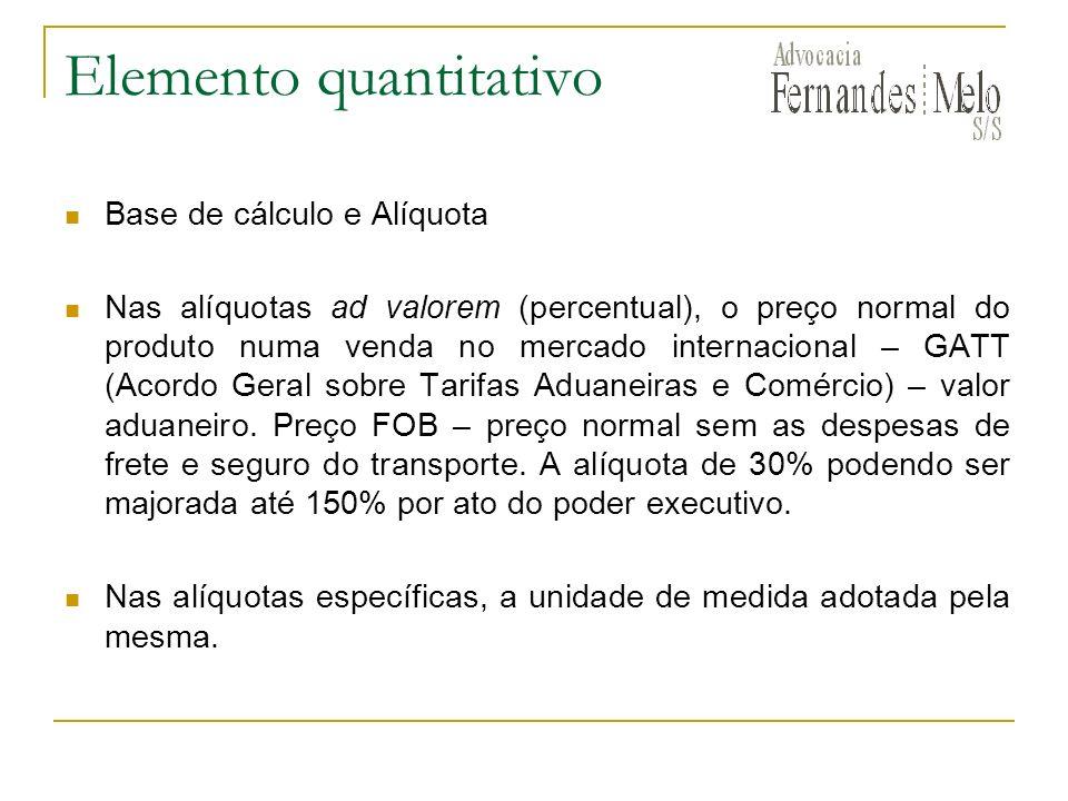 Elemento quantitativo Base de cálculo e Alíquota Nas alíquotas ad valorem (percentual), o preço normal do produto numa venda no mercado internacional