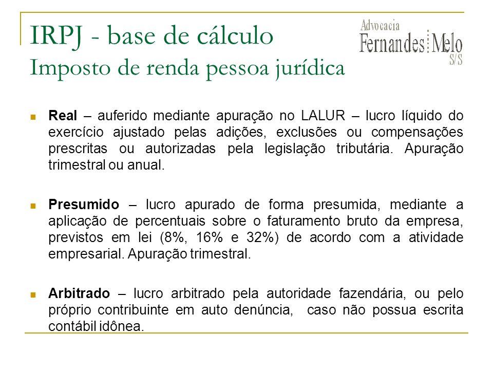 IRPJ - base de cálculo Imposto de renda pessoa jurídica Real – auferido mediante apuração no LALUR – lucro líquido do exercício ajustado pelas adições