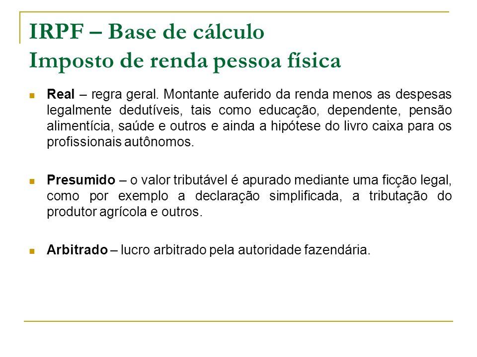 IRPF – Base de cálculo Imposto de renda pessoa física Real – regra geral. Montante auferido da renda menos as despesas legalmente dedutíveis, tais com