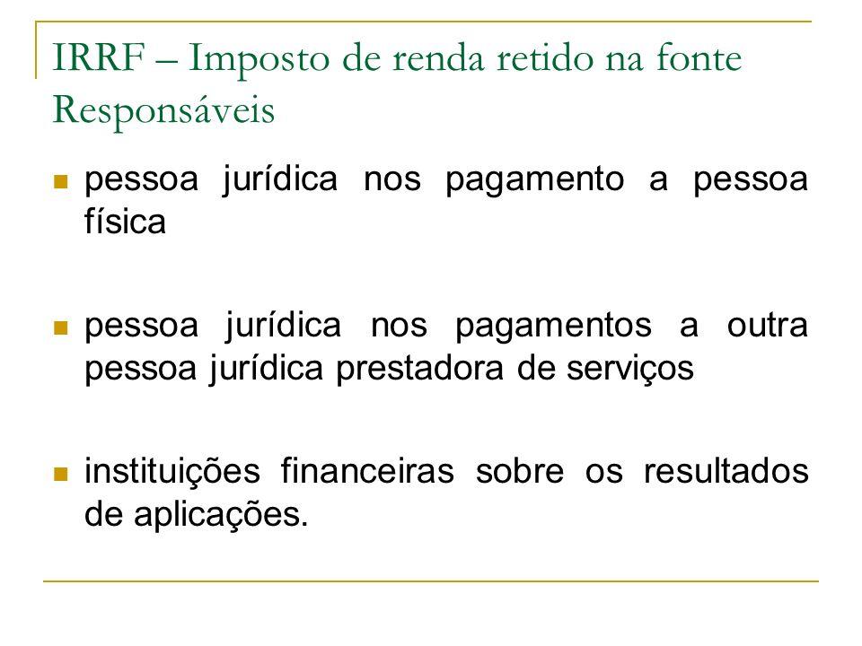 IRRF – Imposto de renda retido na fonte Responsáveis pessoa jurídica nos pagamento a pessoa física pessoa jurídica nos pagamentos a outra pessoa juríd