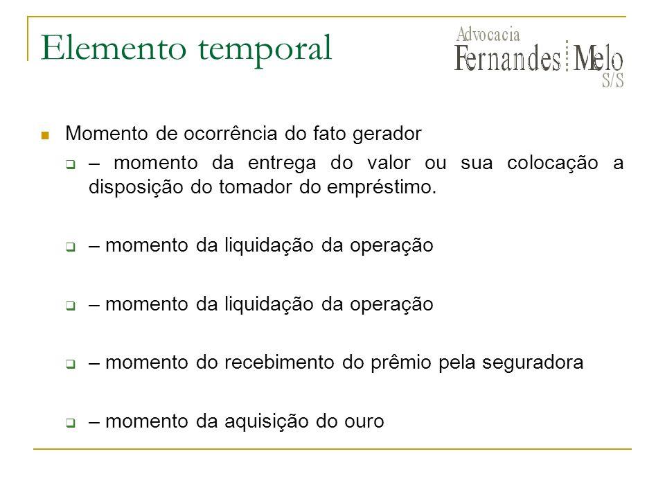 Elemento temporal Momento de ocorrência do fato gerador – momento da entrega do valor ou sua colocação a disposição do tomador do empréstimo. – moment