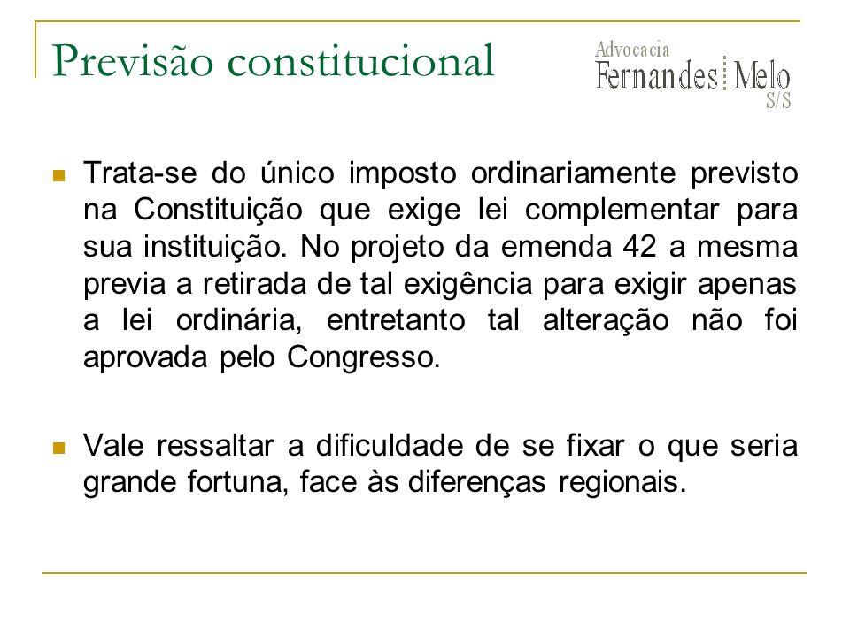 Previsão constitucional Trata-se do único imposto ordinariamente previsto na Constituição que exige lei complementar para sua instituição. No projeto