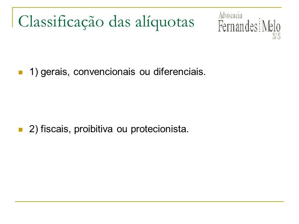 Classificação das alíquotas 1) gerais, convencionais ou diferenciais. 2) fiscais, proibitiva ou protecionista.