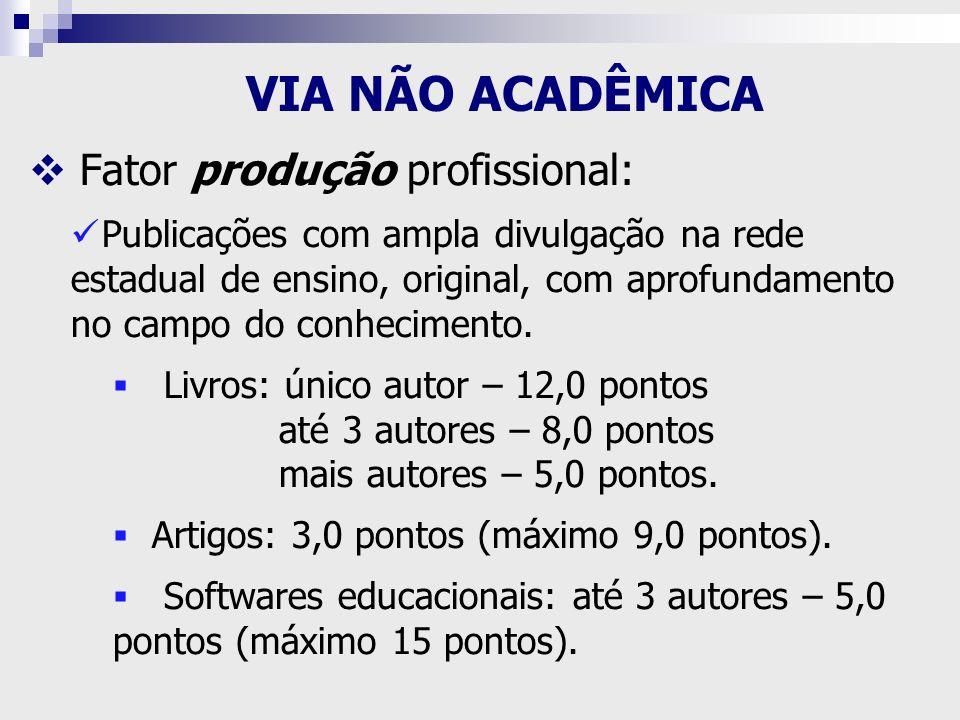Fator produção profissional: Publicações com ampla divulgação na rede estadual de ensino, original, com aprofundamento no campo do conhecimento. Livro