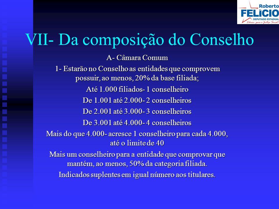 VII- Da composição do Conselho A- Câmara Comum 1- Estarão no Conselho as entidades que comprovem possuir, ao menos, 20% da base filiada; Até 1.000 filiados- 1 conselheiro De 1.001 até 2.000- 2 conselheiros De 2.001 até 3.000- 3 conselheiros De 3.001 até 4.000- 4 conselheiros Mais do que 4.000- acresce 1 conselheiro para cada 4.000, até o limite de 40 Mais um conselheiro para a entidade que comprovar que mantém, ao menos, 50% da categoria filiada.
