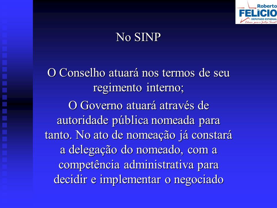 No SINP O Conselho atuará nos termos de seu regimento interno; O Governo atuará através de autoridade pública nomeada para tanto.