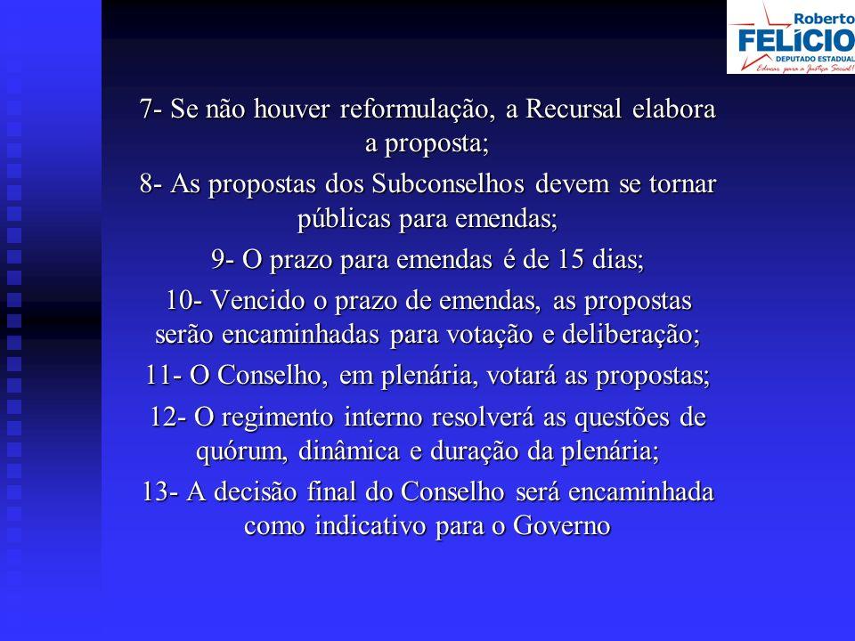 7- Se não houver reformulação, a Recursal elabora a proposta; 8- As propostas dos Subconselhos devem se tornar públicas para emendas; 9- O prazo para emendas é de 15 dias; 10- Vencido o prazo de emendas, as propostas serão encaminhadas para votação e deliberação; 11- O Conselho, em plenária, votará as propostas; 12- O regimento interno resolverá as questões de quórum, dinâmica e duração da plenária; 13- A decisão final do Conselho será encaminhada como indicativo para o Governo