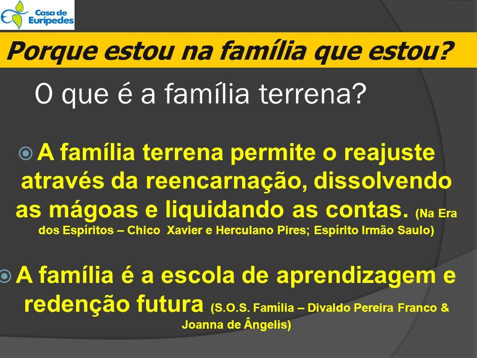 O que é a família terrena? A família terrena permite o reajuste através da reencarnação, dissolvendo as mágoas e liquidando as contas. (Na Era dos Esp