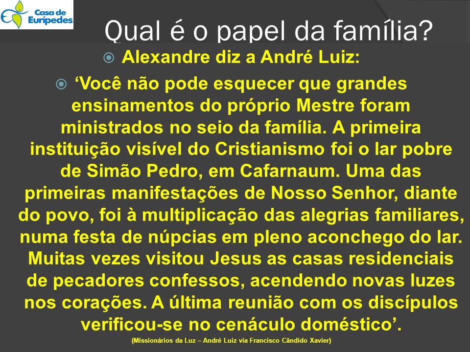 Qual é o papel da família? Alexandre diz a André Luiz: Você não pode esquecer que grandes ensinamentos do próprio Mestre foram ministrados no seio da