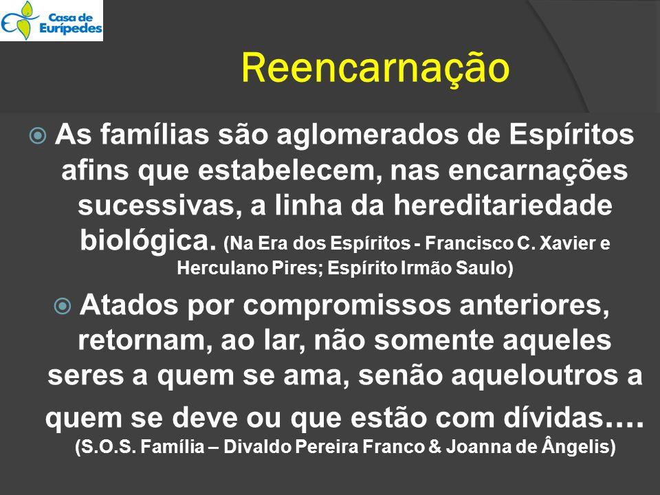 Reencarnação As famílias são aglomerados de Espíritos afins que estabelecem, nas encarnações sucessivas, a linha da hereditariedade biológica. (Na Era