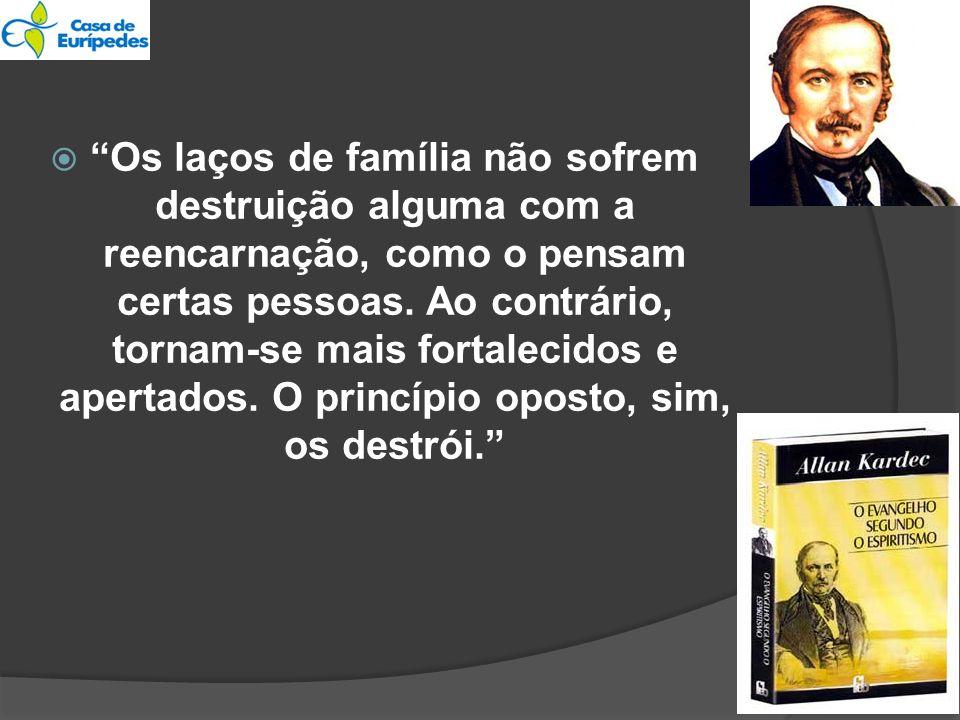 Os laços de família não sofrem destruição alguma com a reencarnação, como o pensam certas pessoas. Ao contrário, tornam-se mais fortalecidos e apertad