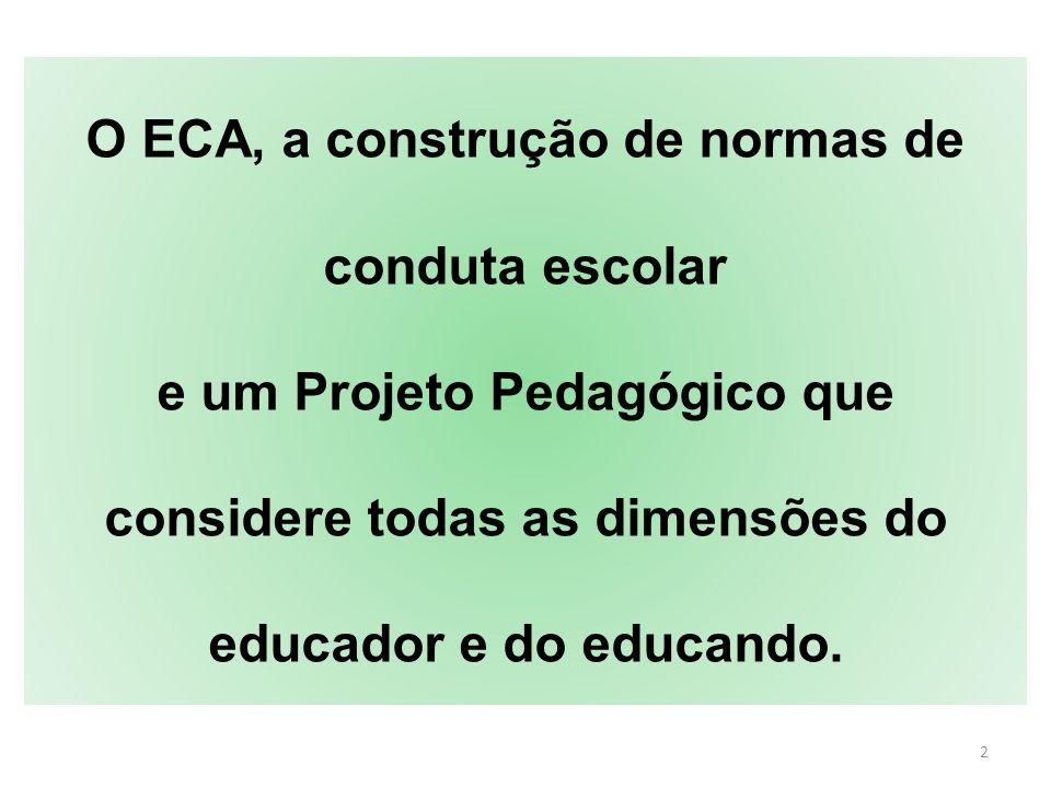 13 ECA : criança e adolescente etapas distintas da vida humana Em geral, gozam dos mesmos direitos fundamentais, reconhecendo-se sua condição especial de pessoas em desenvolvimento.
