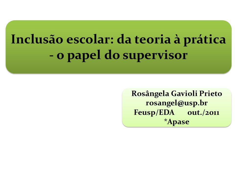 Inclusão escolar: da teoria à prática - o papel do supervisor Rosângela Gavioli Prieto rosangel@usp.br Feusp/EDA out./2011 *Apase Rosângela Gavioli Pr