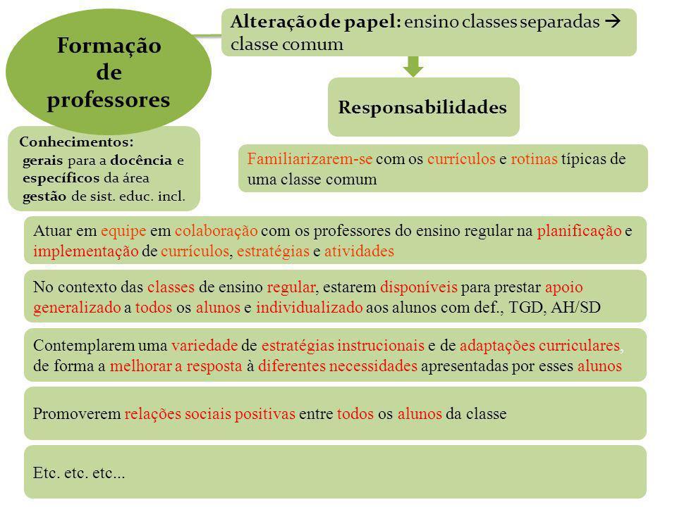 Alteração de papel: ensino classes separadas classe comum Responsabilidades Familiarizarem-se com os currículos e rotinas típicas de uma classe comum
