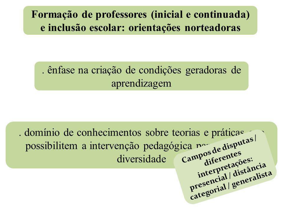Formação de professores (inicial e continuada) e inclusão escolar: orientações norteadoras. ênfase na criação de condições geradoras de aprendizagem.