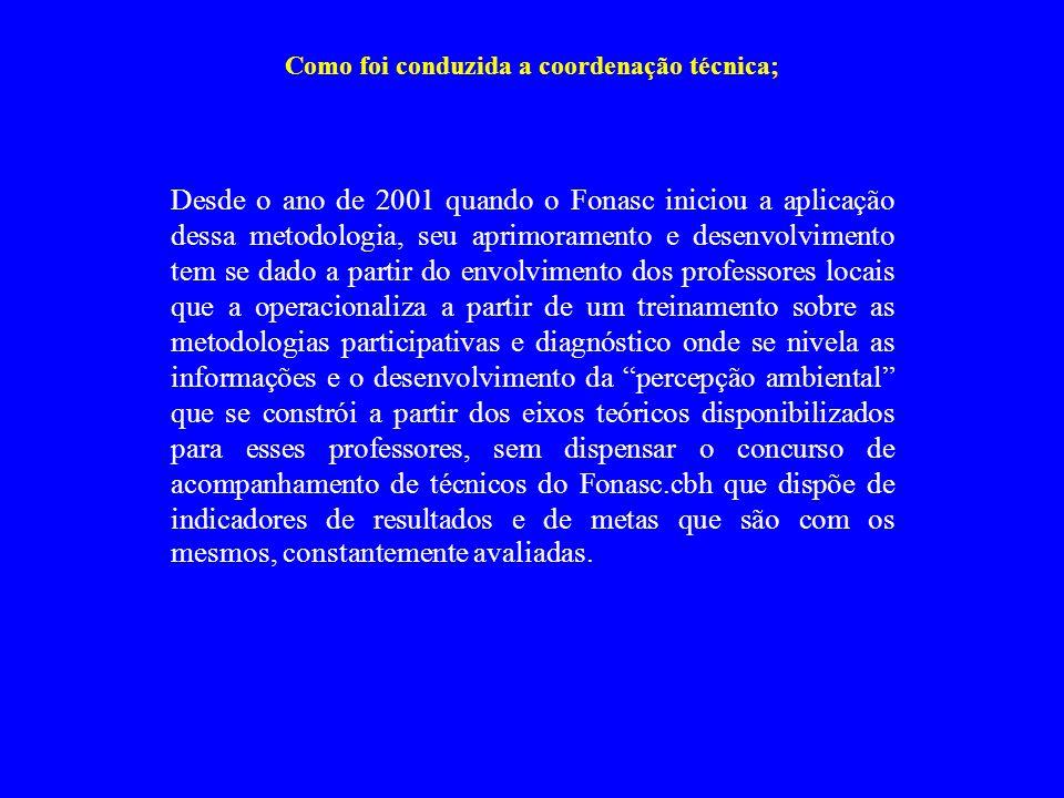 Como foi conduzida a coordenação técnica; Desde o ano de 2001 quando o Fonasc iniciou a aplicação dessa metodologia, seu aprimoramento e desenvolvimen