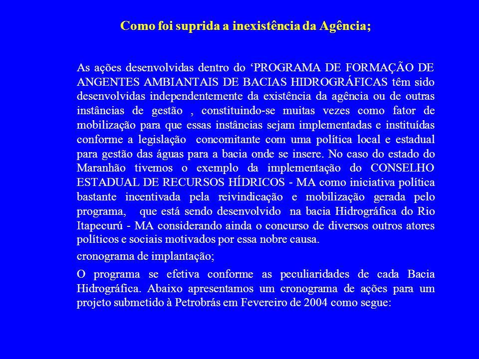 Como foi suprida a inexistência da Agência; As ações desenvolvidas dentro do PROGRAMA DE FORMAÇÃO DE ANGENTES AMBIANTAIS DE BACIAS HIDROGRÁFICAS têm s