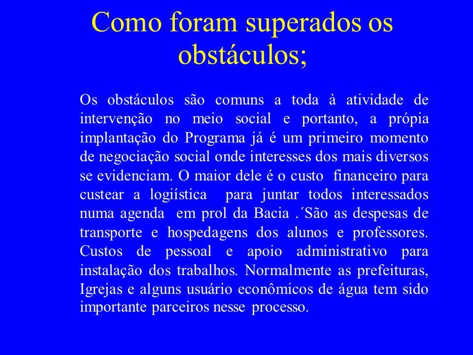 Como foram superados os obstáculos; Os obstáculos são comuns a toda à atividade de intervenção no meio social e portanto, a própia implantação do Prog
