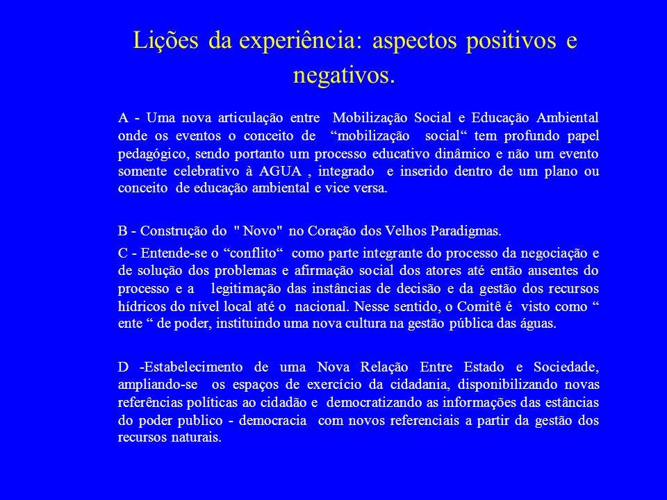 Lições da experiência: aspectos positivos e negativos. A - Uma nova articulação entre Mobilização Social e Educação Ambiental onde os eventos o concei