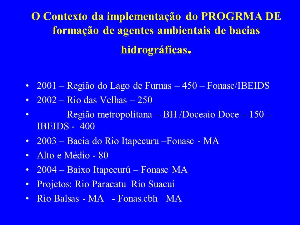 O Contexto da implementação do PROGRMA DE formação de agentes ambientais de bacias hidrográficas. 2001 – Região do Lago de Furnas – 450 – Fonasc/IBEID