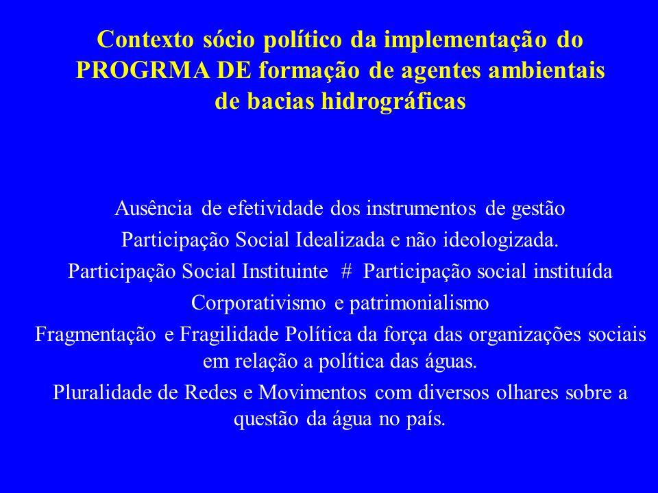 Contexto sócio político da implementação do PROGRMA DE formação de agentes ambientais de bacias hidrográficas Ausência de efetividade dos instrumentos