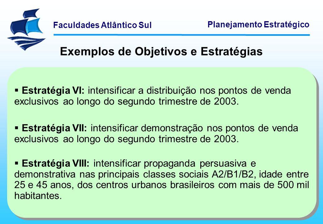 Faculdades Atlântico Sul Planejamento Estratégico Exemplos de Objetivos e Estratégias Estratégia VI: intensificar a distribuição nos pontos de venda e
