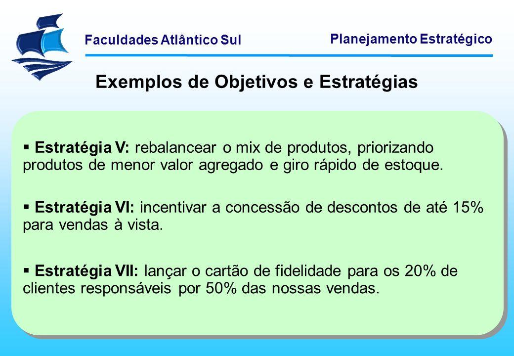 Faculdades Atlântico Sul Planejamento Estratégico Estratégia V: rebalancear o mix de produtos, priorizando produtos de menor valor agregado e giro ráp