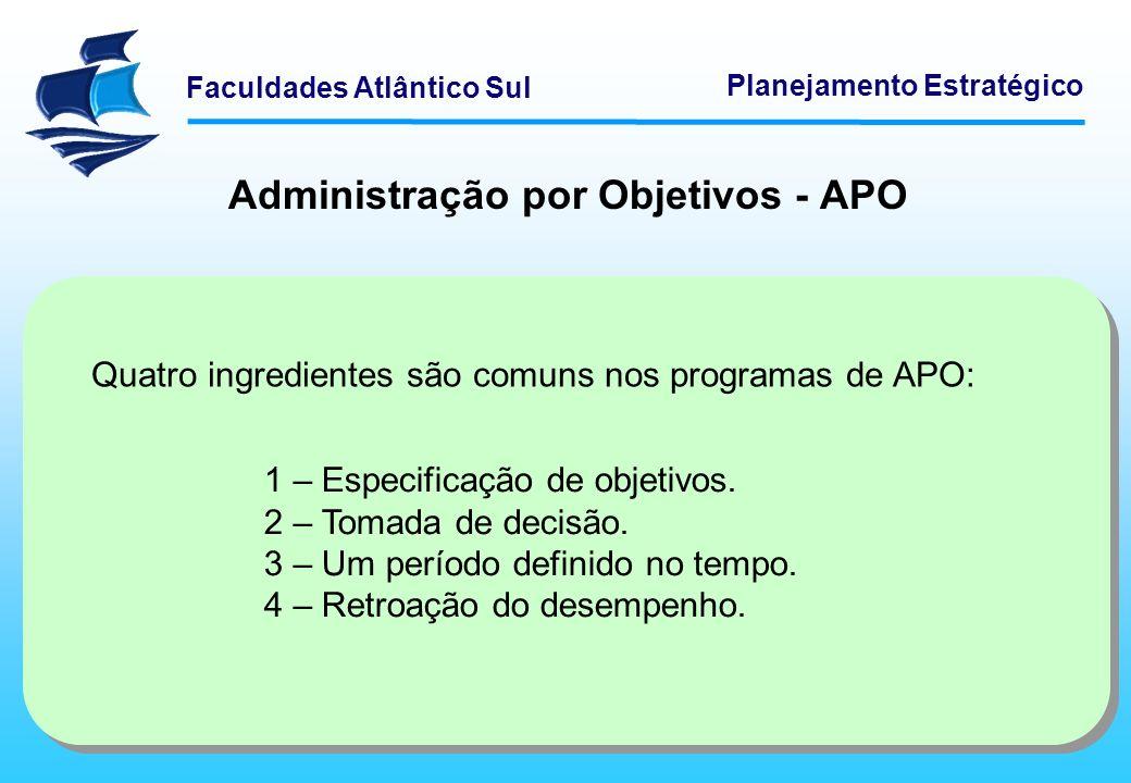Faculdades Atlântico Sul Planejamento Estratégico Administração por Objetivos - APO Quatro ingredientes são comuns nos programas de APO: 1 – Especific