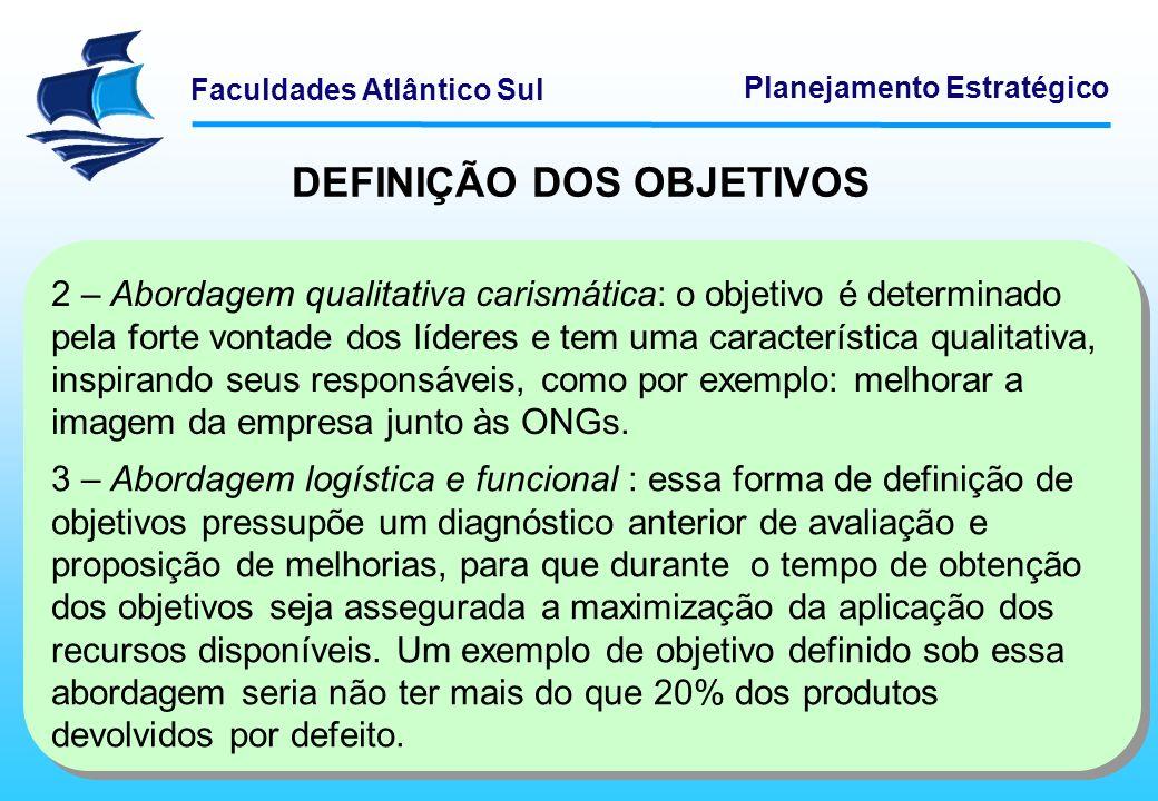 Faculdades Atlântico Sul Planejamento Estratégico DEFINIÇÃO DOS OBJETIVOS 2 – Abordagem qualitativa carismática: o objetivo é determinado pela forte v