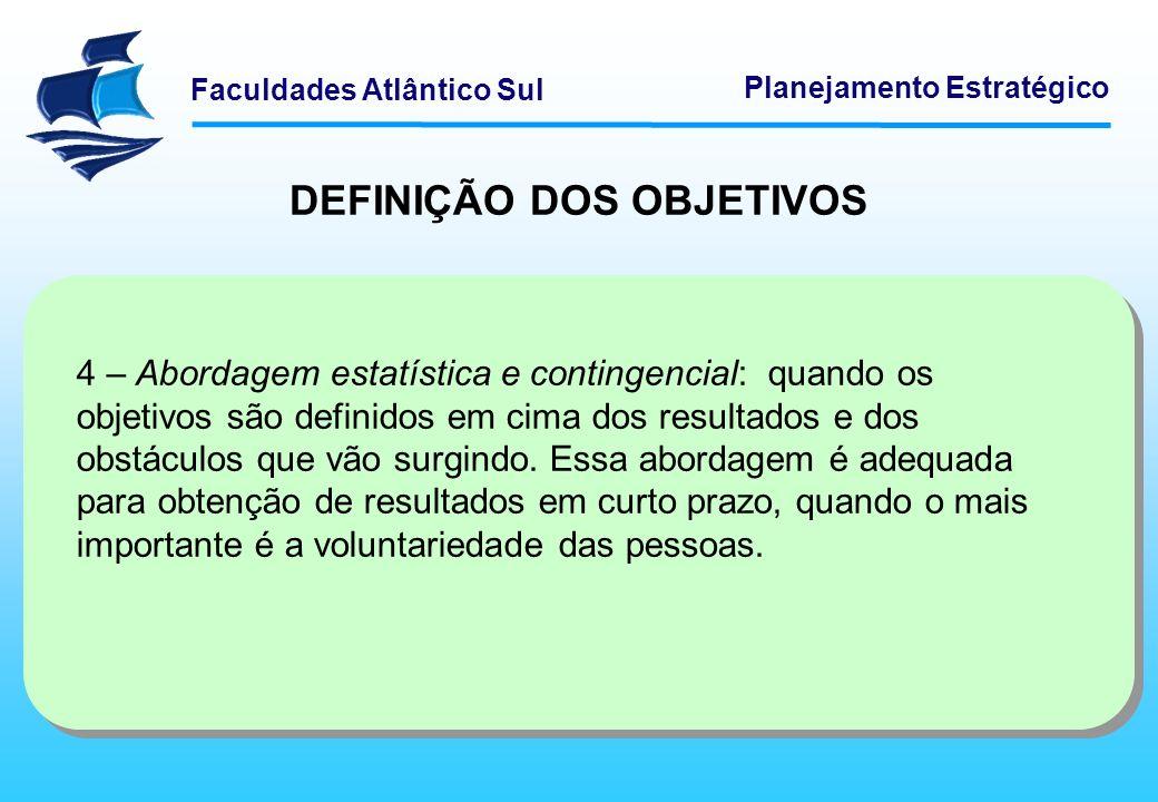 Faculdades Atlântico Sul Planejamento Estratégico DEFINIÇÃO DOS OBJETIVOS 4 – Abordagem estatística e contingencial: quando os objetivos são definidos