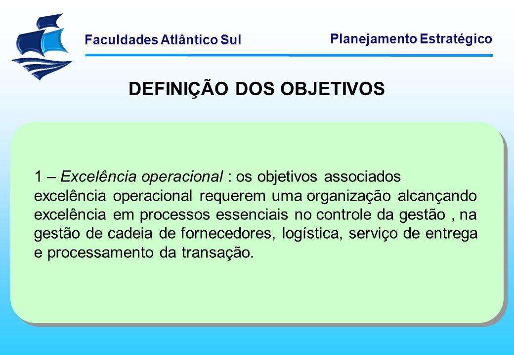 Faculdades Atlântico Sul Planejamento Estratégico DEFINIÇÃO DOS OBJETIVOS 1 – Excelência operacional : os objetivos associados excelência operacional