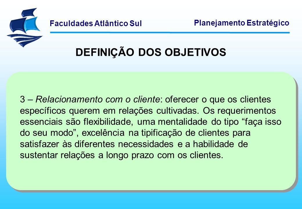 Faculdades Atlântico Sul Planejamento Estratégico DEFINIÇÃO DOS OBJETIVOS 3 – Relacionamento com o cliente: oferecer o que os clientes específicos que