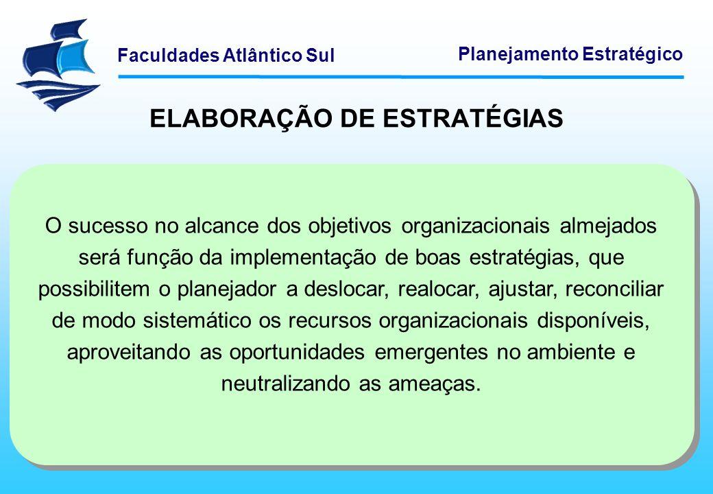 Faculdades Atlântico Sul Planejamento Estratégico ELABORAÇÃO DE ESTRATÉGIAS O sucesso no alcance dos objetivos organizacionais almejados será função d