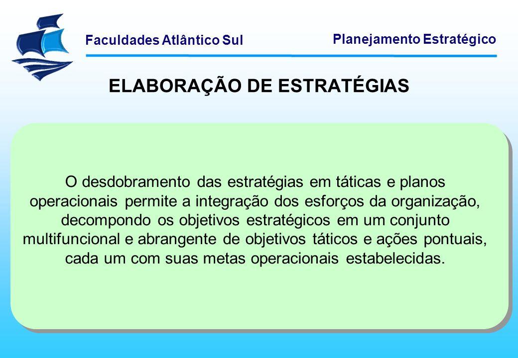 Faculdades Atlântico Sul Planejamento Estratégico ELABORAÇÃO DE ESTRATÉGIAS O desdobramento das estratégias em táticas e planos operacionais permite a