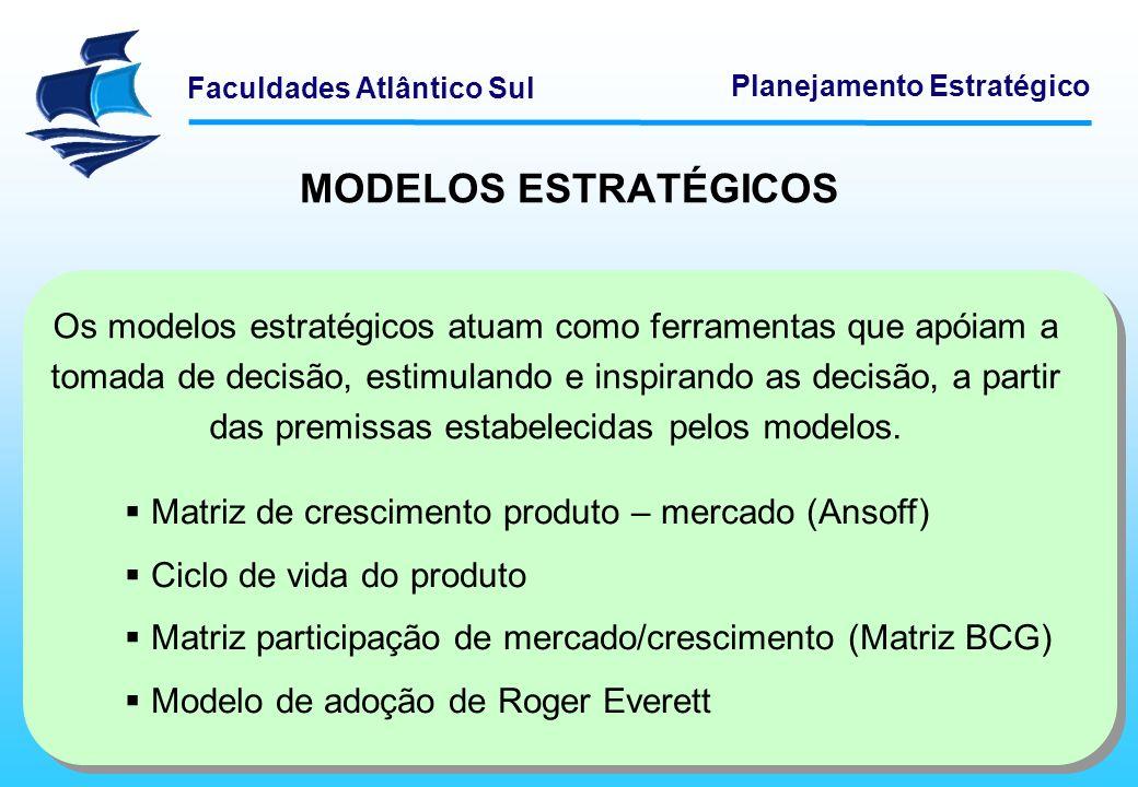 Faculdades Atlântico Sul Planejamento Estratégico MODELOS ESTRATÉGICOS Os modelos estratégicos atuam como ferramentas que apóiam a tomada de decisão,