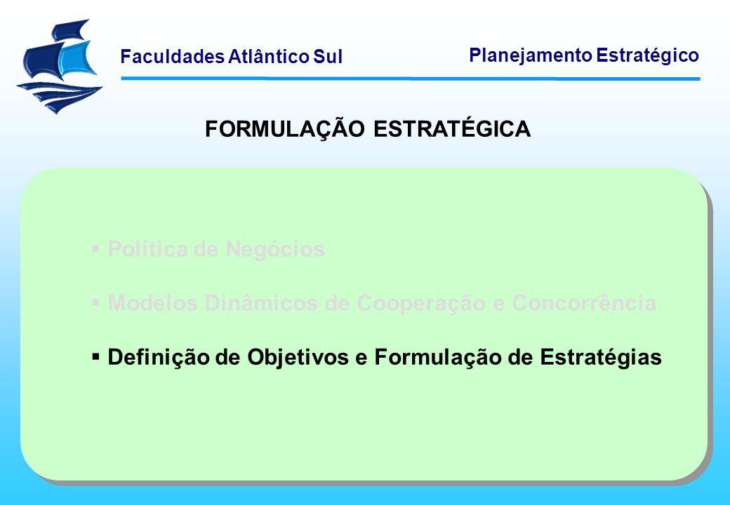 Faculdades Atlântico Sul Planejamento Estratégico FORMULAÇÃO ESTRATÉGICA Política de Negócios Modelos Dinâmicos de Cooperação e Concorrência Definição